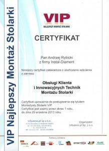 Certyfikat VIP - Andrzej Rybicki