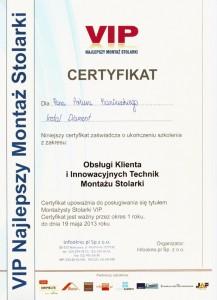 Certyfikat VIP - Artur Kaniewski