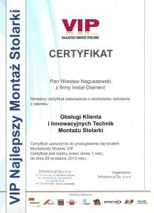 Certyfikat VIP - WIesław Naguszewski
